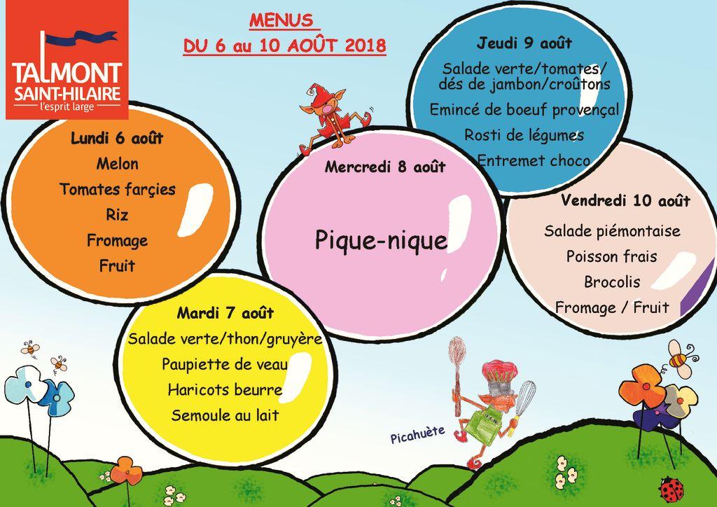 thumbnail of Menus du 6 au 10 aout 2018