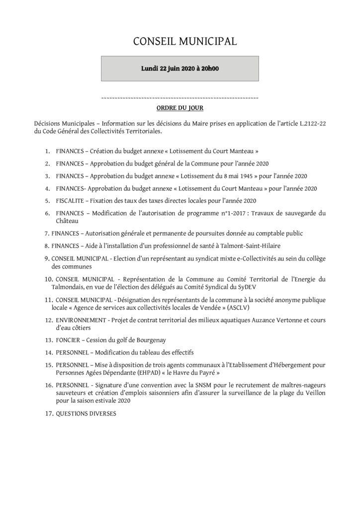 thumbnail of Ordre du jour du 22 juin 2020 – presse