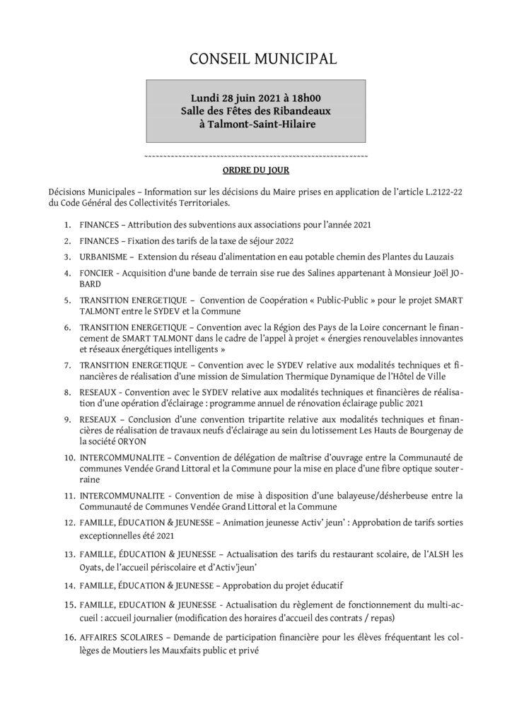 thumbnail of Ordre du jour du 28 juin 2021 – presse