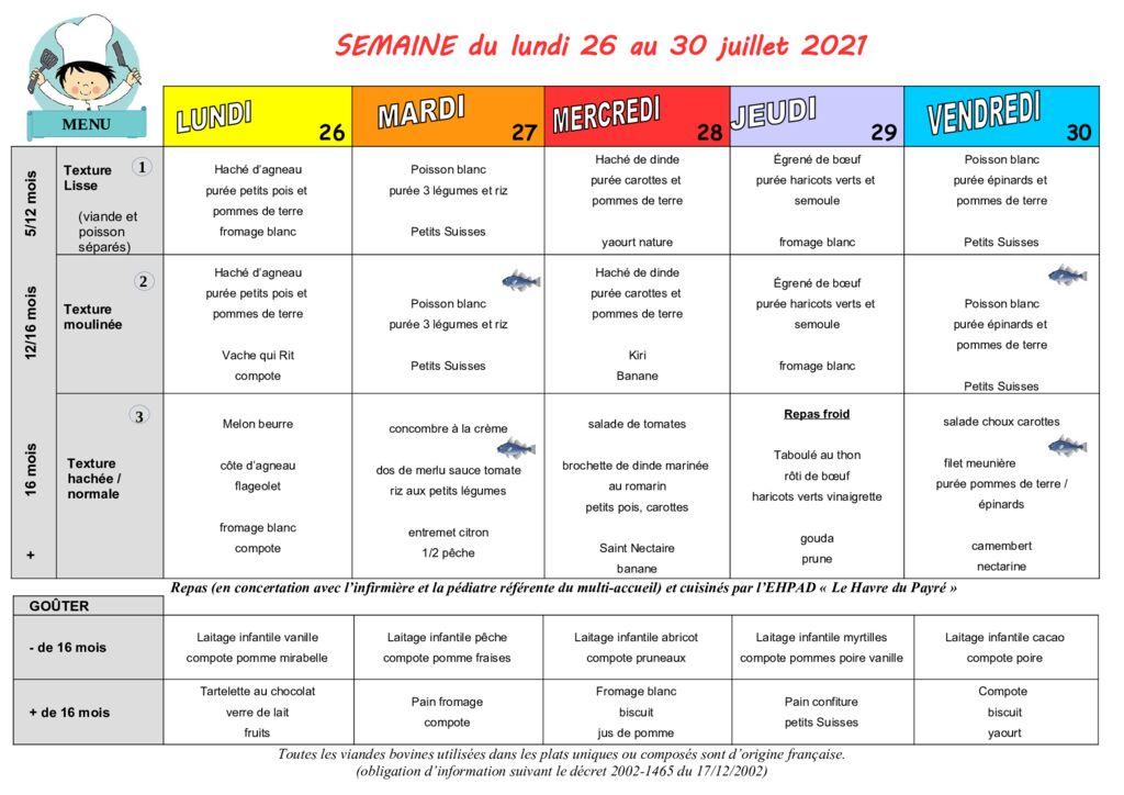thumbnail of Menus des Moussaillons du Payré du 26 au 30 juillet 2021